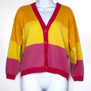 Vintage Pink, Yellow, Orange Button Down Cardigan